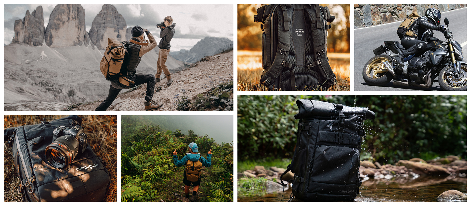 compagnon_Element-Backpack_Collage_VolcanoBlack_DesertBrown_Camerabackpack